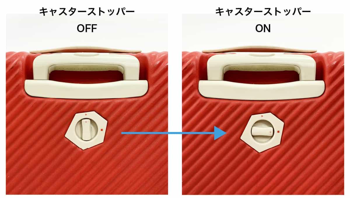 スーツケース・キャスターストッパーの例
