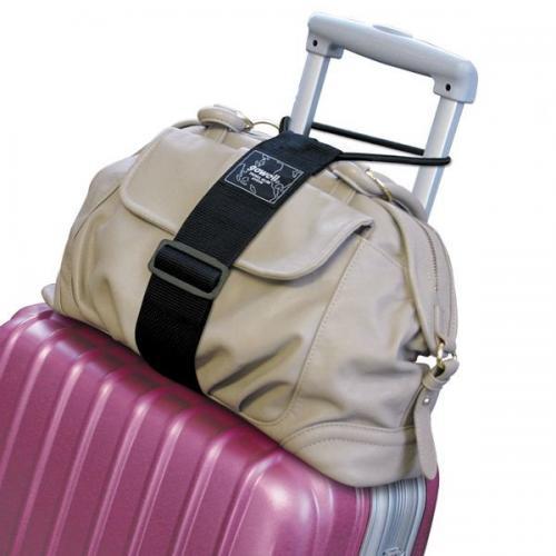 スーツケースの上に乗せたバッグを留めるためのバッグ留めるベルト