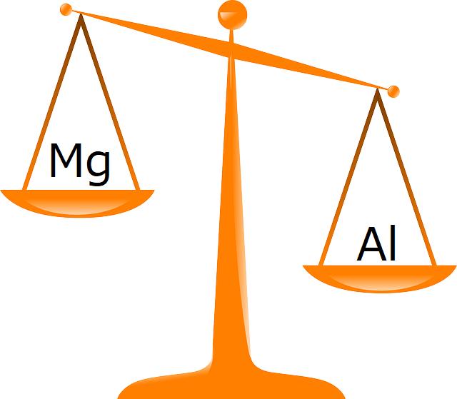 天秤にかけられたマグネシウムとアルミニウム