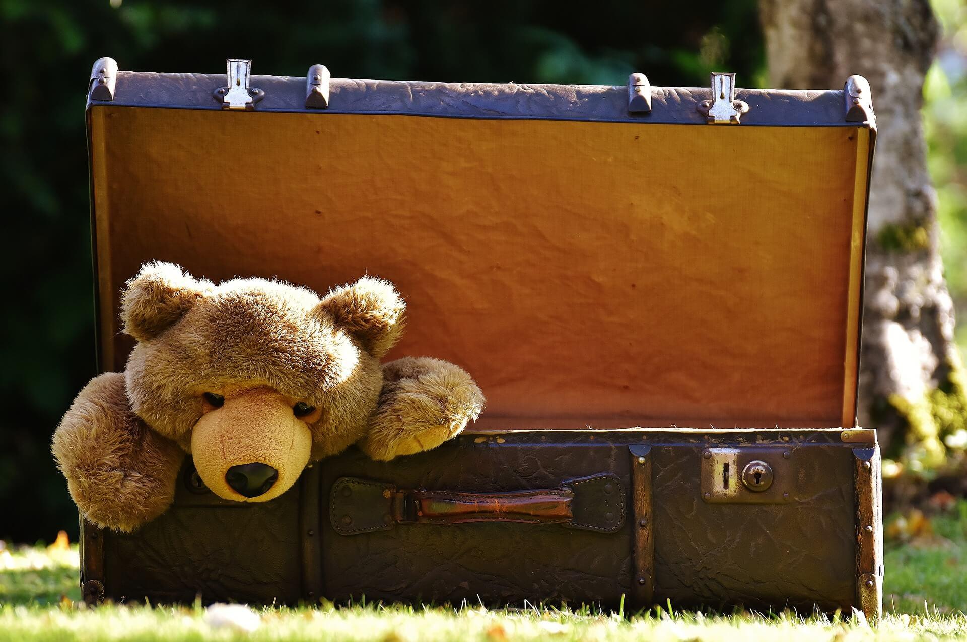 使わなくなったスーツケースを発展途上国に寄付。使わなくなった古びたスーツケースの中から古びたくまのぬいぐるみが顔を出す