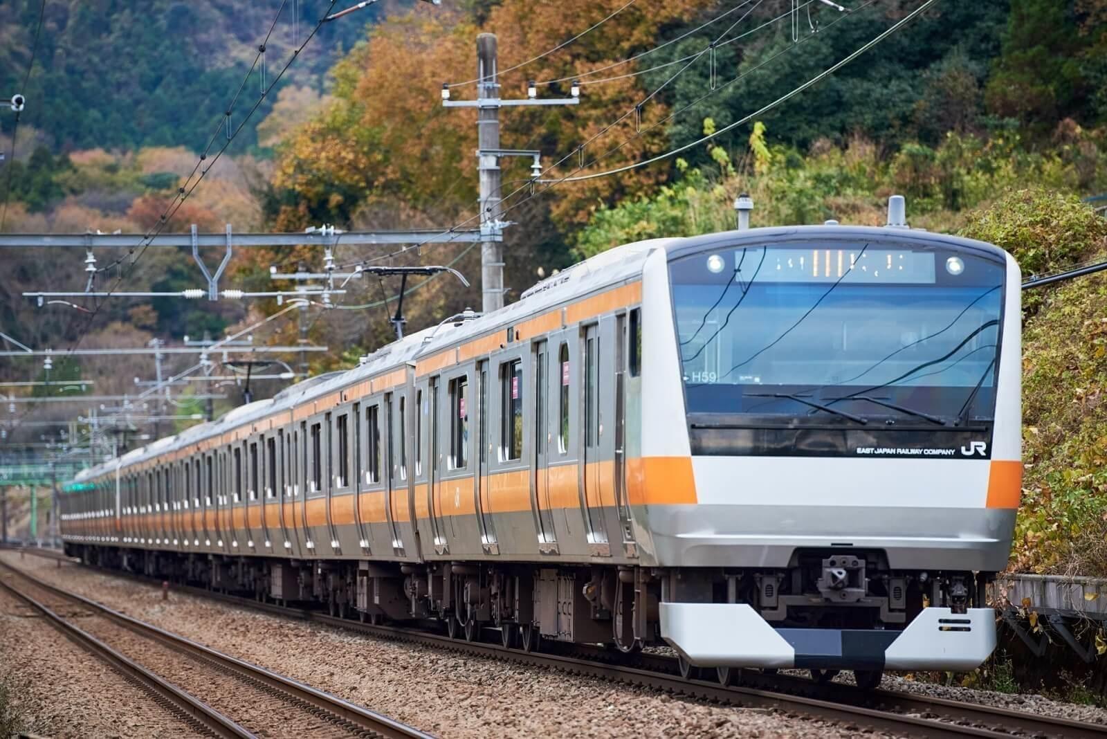 電車での出張の注意点。動く電車の描写