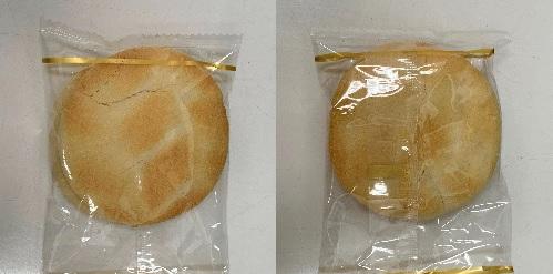 衝撃が最も伝わる面に固定した検証結果(ソフトタイプ)の割れたおせんべい