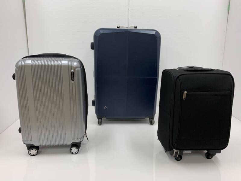 検証2で使用したスーツケース(バーマス プレステージとプロテカ エキノックスライトオーレとノーブランド)