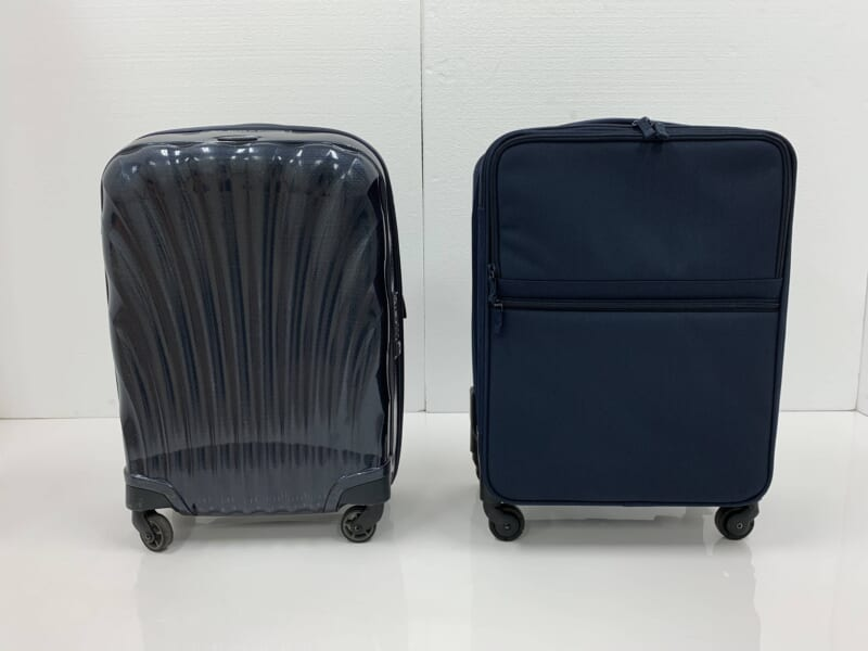 検証3で使用したスーツケース(サムソナイト コスモライトと無印 ソフトキャリーケース)