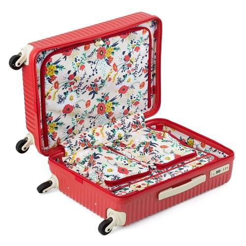 エースハントマイン アネモネレッドのスーツケースの花柄の内装
