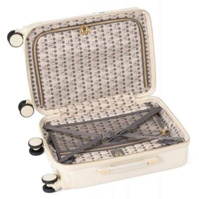 シフレ ハピタス ホワイトのスーツケースのミッキーフェイス柄の内装